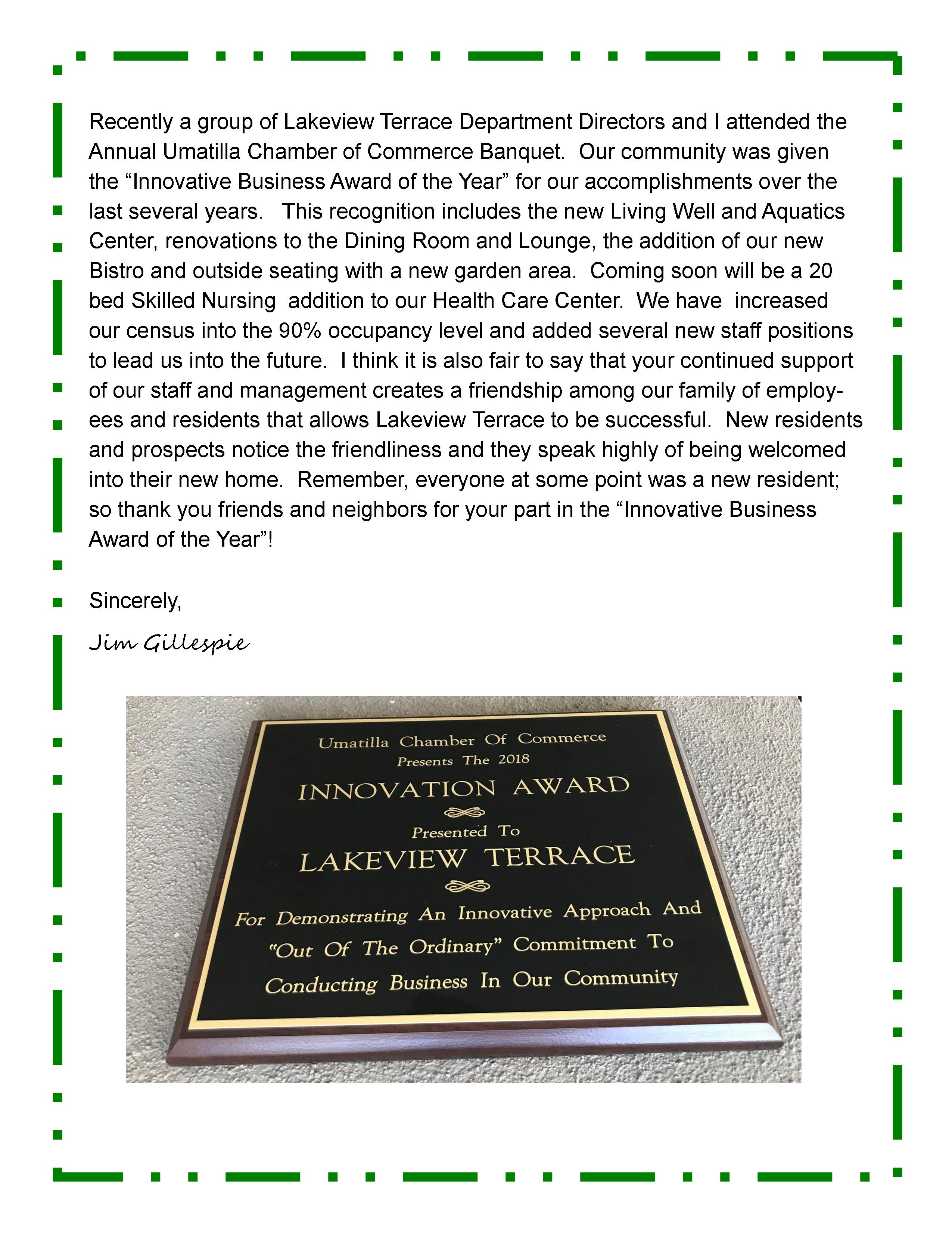 Lakeview Terrace Innovation Award