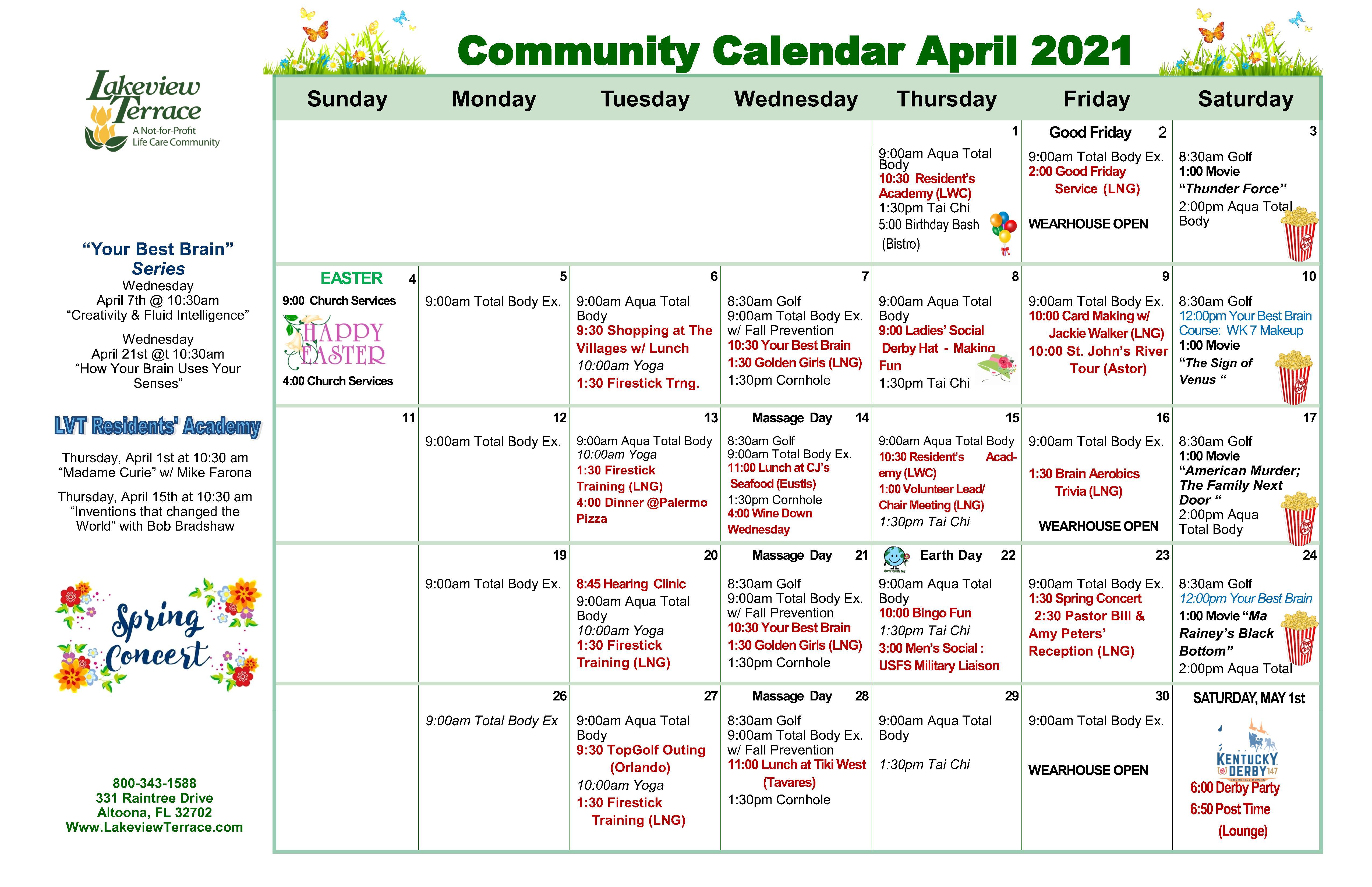 April Community Calendar 2021