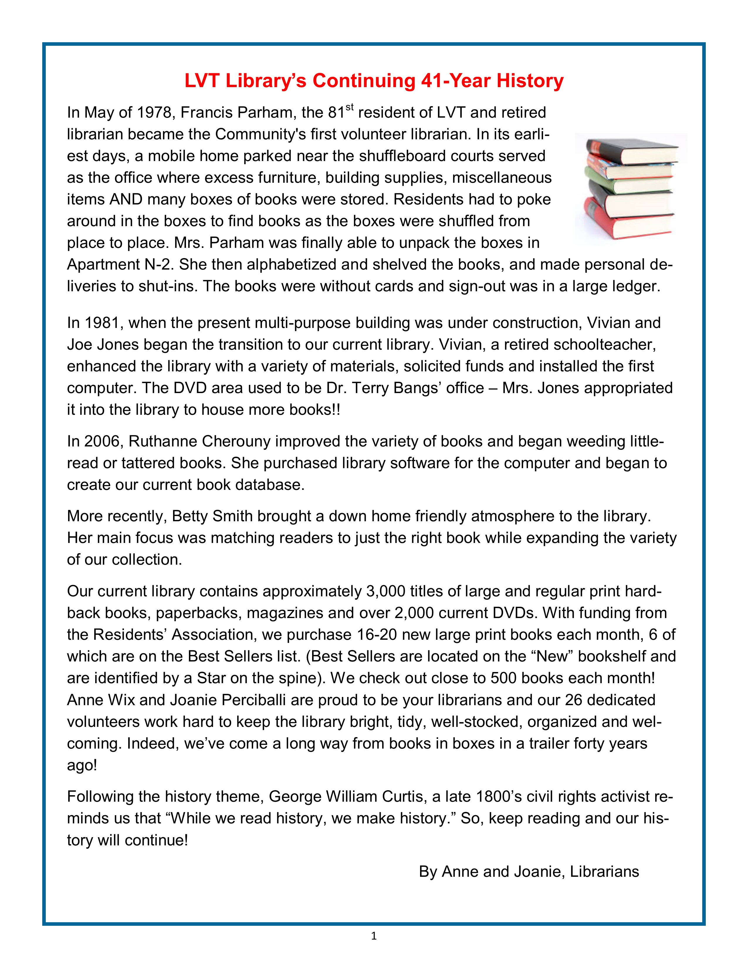 LVT Library's Continuing 41-Year History