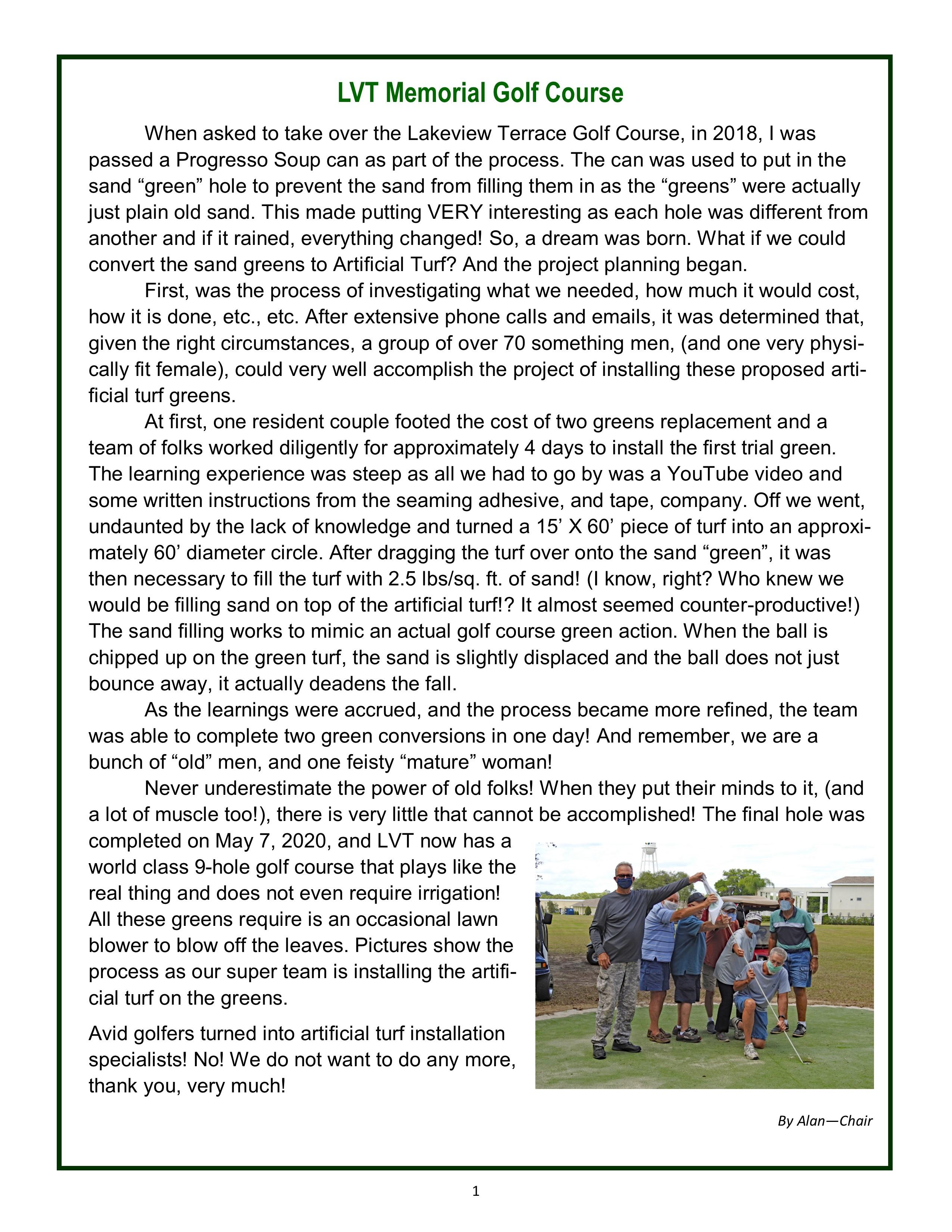 LVT Memorial Golf Course