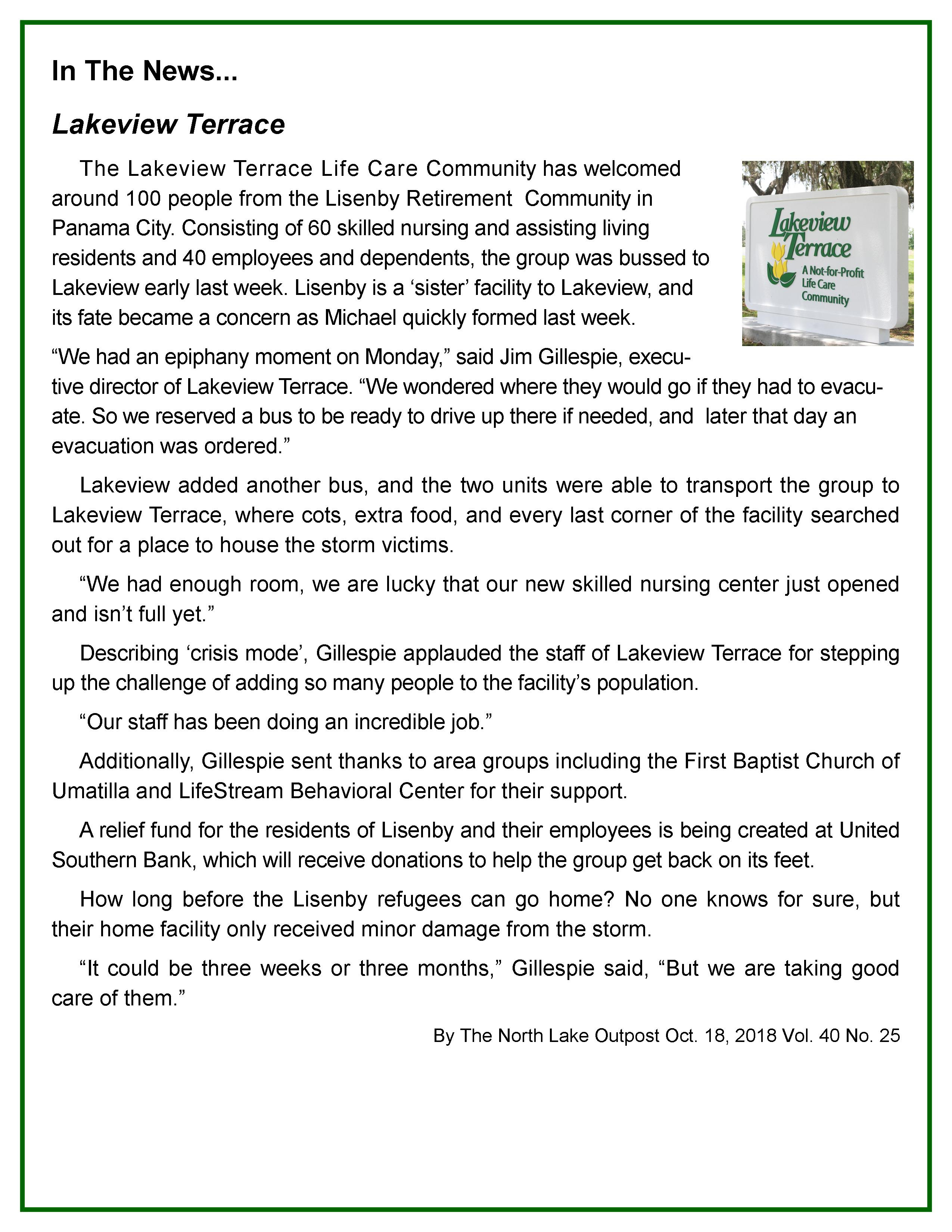 Welcome Lisenby Retirement Community