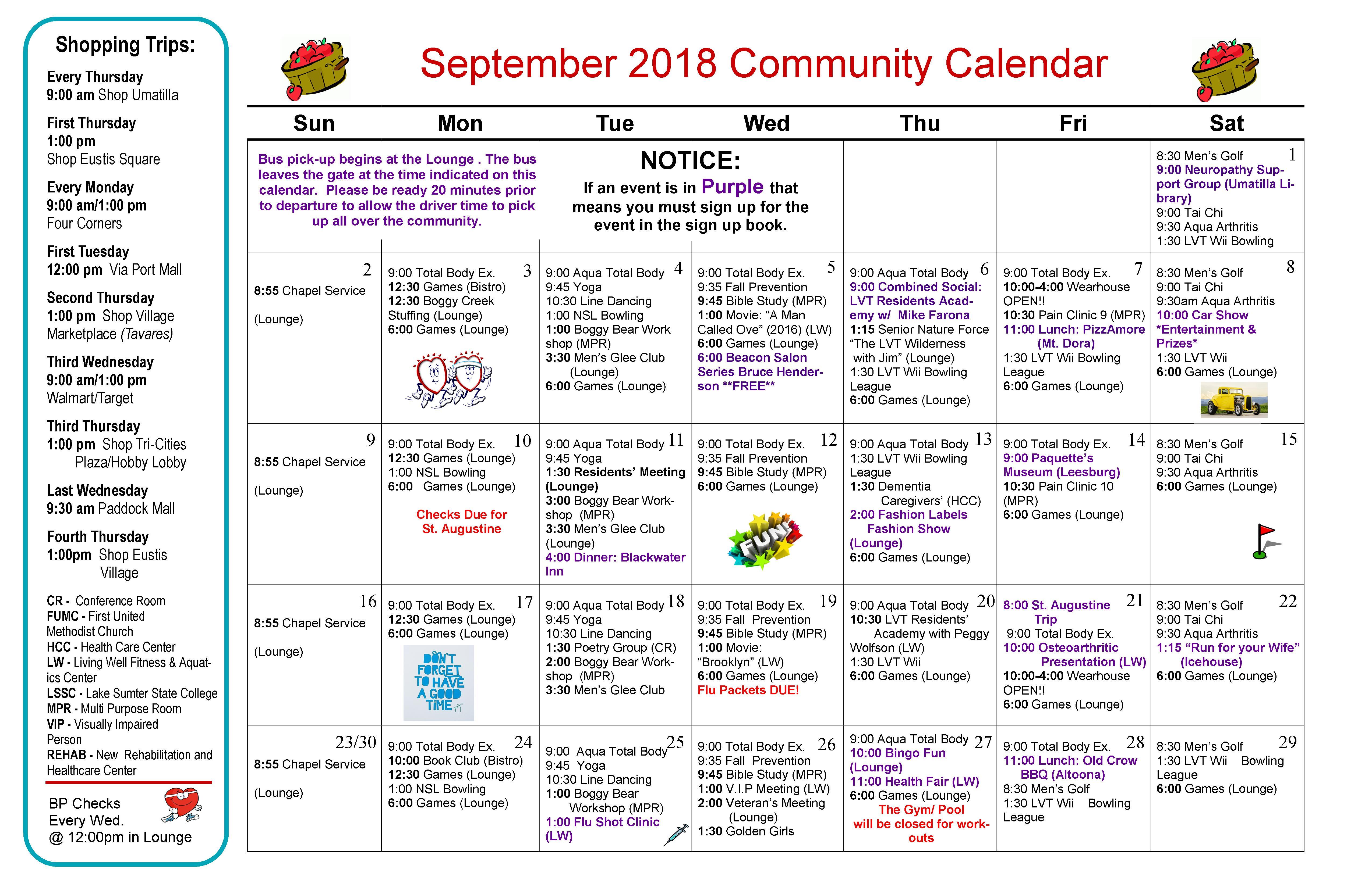 Sept. 2018 Calendar