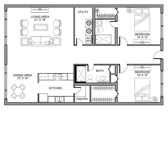 Two Bedroom Deluxe Apartment Home