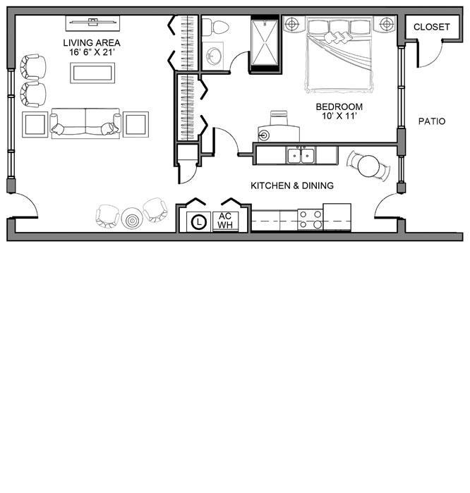 One Bedroom Deluxe Garden Home · View Floor Plan