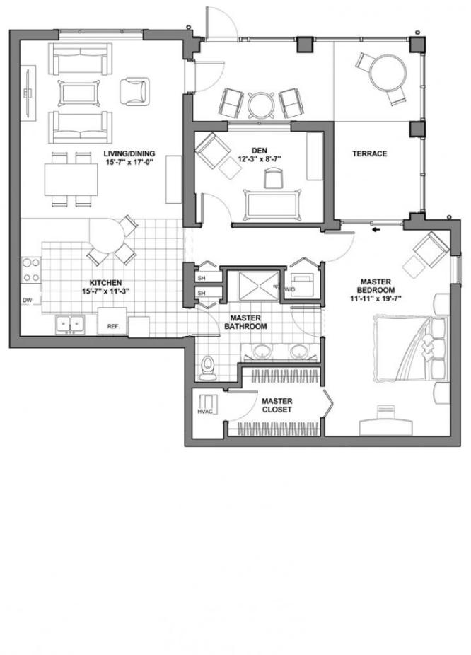 Floor plans a ccrc retirement community in florida for Apartment floor plans 1 bedroom with den